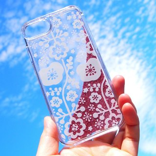 Glitter Clear iPhone case - Floral lace -