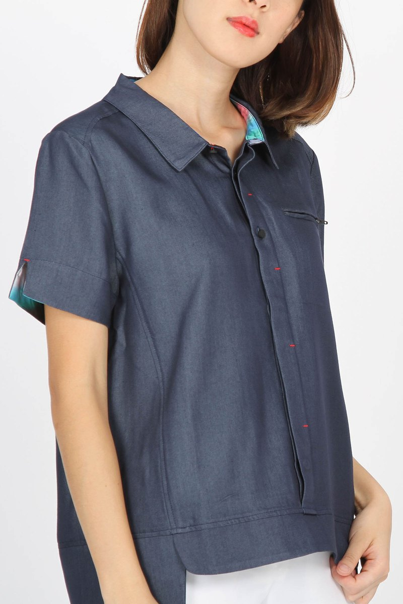 Tencel denim breathable pocket zipper shirt