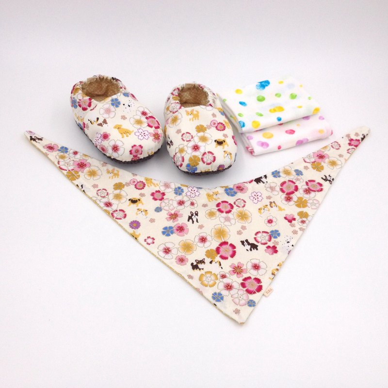 HBS Baby Gift Box - Flower Dog (Toddler Shoes, Handkerchief, Scarf)