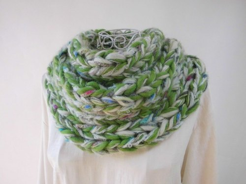 Fluffy ♪ Snood (Evergreen) _ Green · Fine Merino · Baby Alpaca plenty