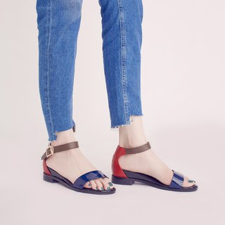 Three kinds of leather material! One word within the increase sandal blue red full leather
