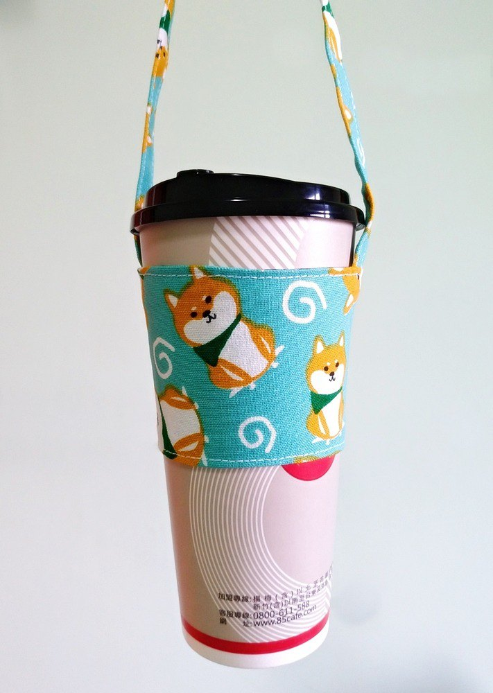 Drink Cup Set Eco Cup Set Hand Drink Bag Coffee Bag Tote Bag - Scarf Shiba Inu (Lake Green)
