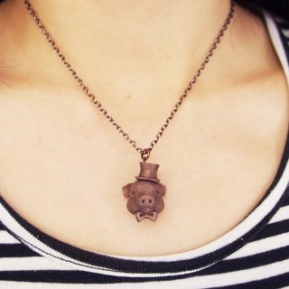 Pig pendant with metal necklace