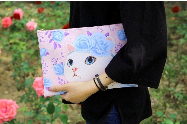JETOY, Sweet Cat Clutch L_Blue rose J1610506