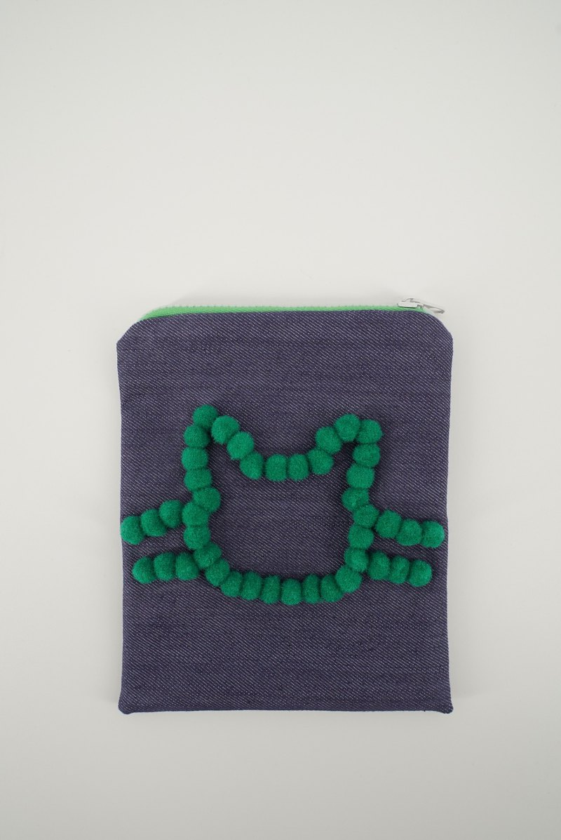 Denim Pouch with Pom Pom Cat in Green