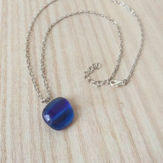 Blue Ribbon Glass Necklace / Clavicle Chain