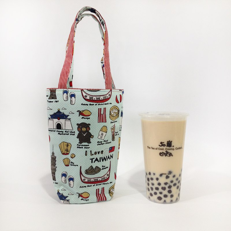 Taiwan famous double-sided beverage bag / beverage bag mint green