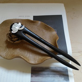 Black and ebony inlaid lotus fritillary double hairpin
