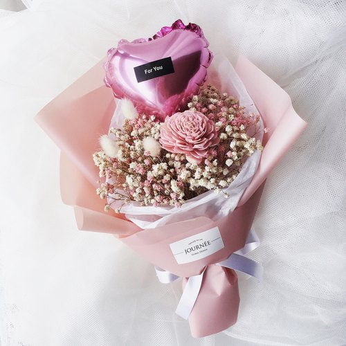 Journee pink love balloon dry bouquet / baby's breath rabbittail pink