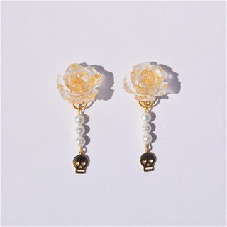 [SMALL POTATO] hand made Harajuku fun retro girl transparent flower beaded small ear clip