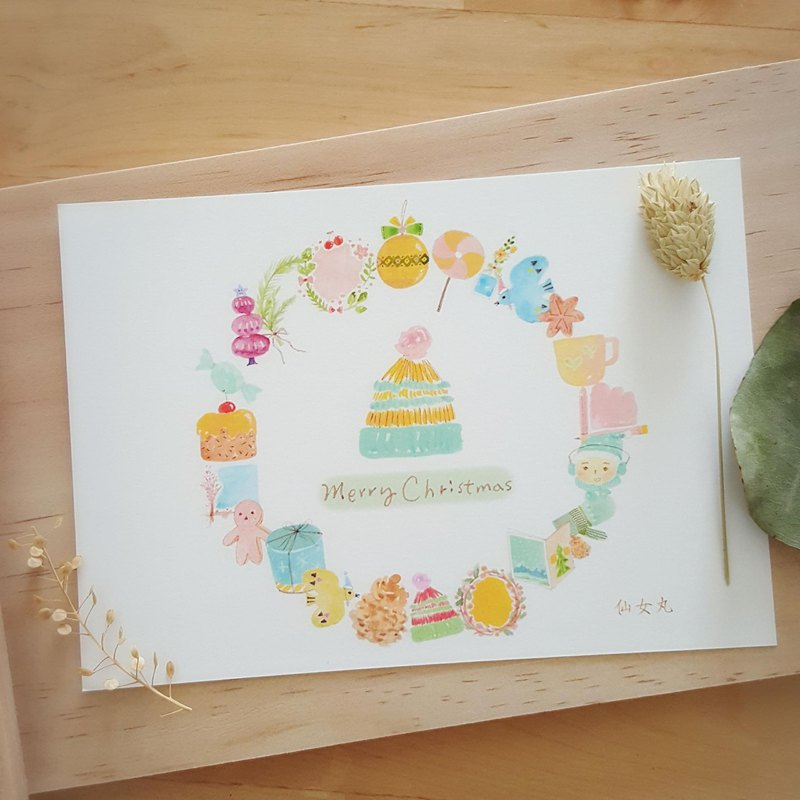 Circle around a Christmas circle~ postcard