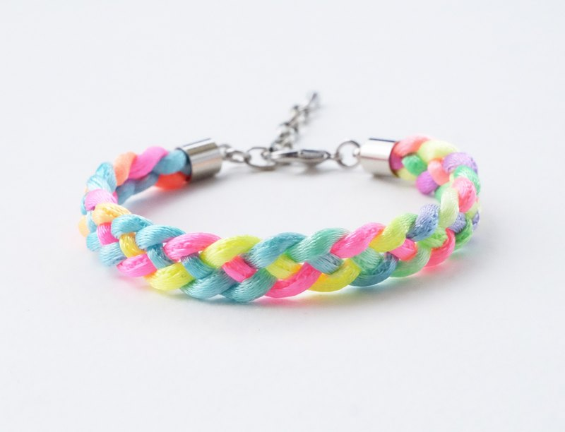 Rainbow neon braided bracelet