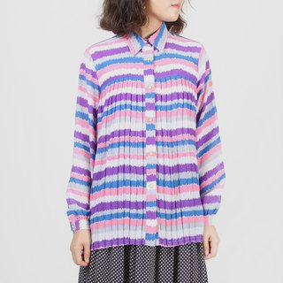[Egg Plant Vintage] Purple Jade Wave Print Pleated Vintage Shirt