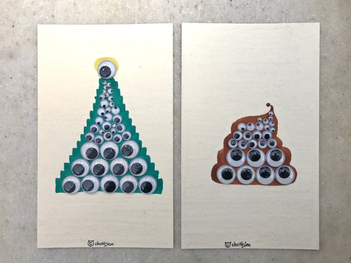 Hand made Christmas postcard ㊣ line of trees and feces (group)