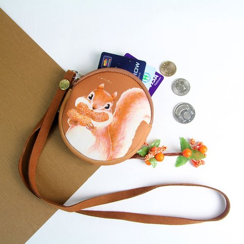 [Exchange gifts] i money brown neck rope purse hand-drawn wind-H10. Squirrel