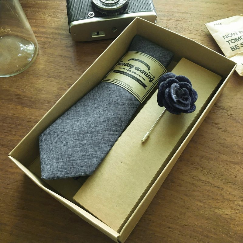 Neck Tie Medium Blue Jean with Blue Flora Lapel Pin (ฺwith Crafted box)