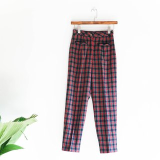 River Hill - east of Tokyo and quality of sheep wool plaid trip straight wide pants antique vintage denim pants vintage