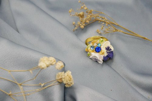 Elegant Rhinestone bouquet ring =Flower Piping= Customizable