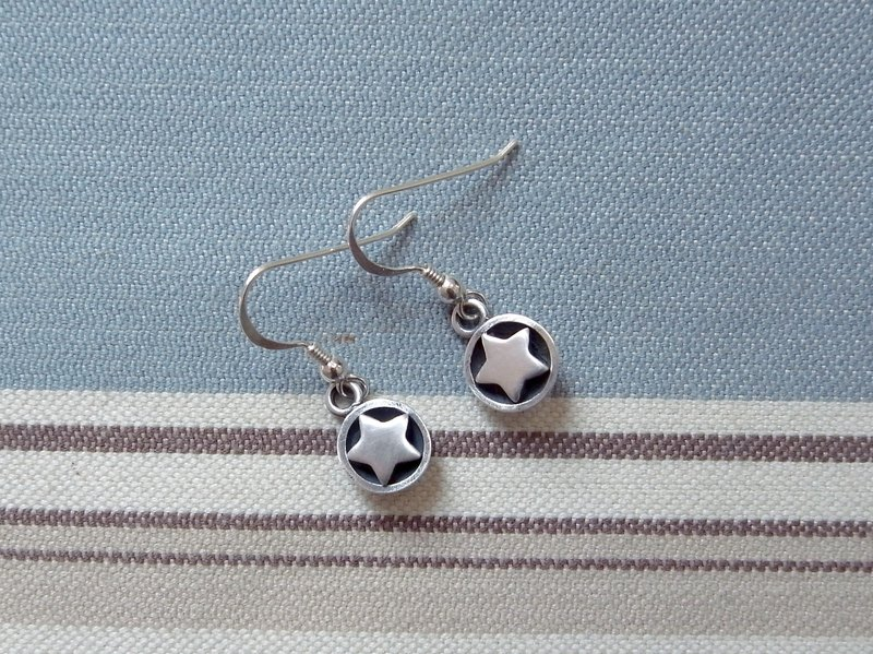 The Brightest Star In The Night--Sterling Silver Star---Ear Hooks--Earrings