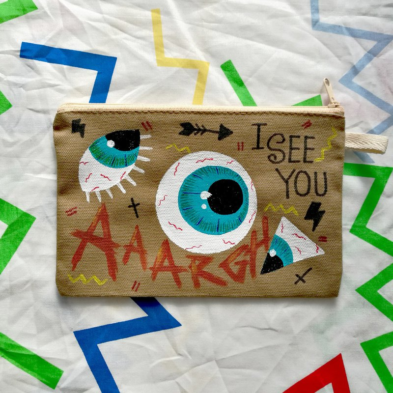 Hand-painted Clutch Bag : AAAARGH I SEE YOU