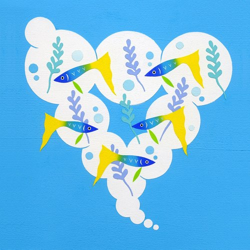 Tropical fish Bubbling minoru furuse Illustration japan Illustration original stencil handmade