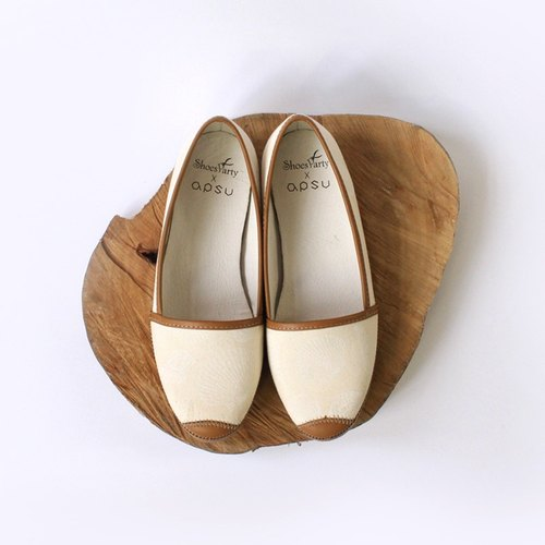White sand and her shell mosaic casual shoes / handmade custom / Japanese fabric / M2-17002F