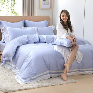 (Increase size) Dream Original Color - Powder Indigo 60 Cotton Multilayer Design Bed Set Four Pieces