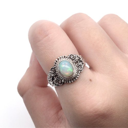 Opal 925 sterling silver exotic silver sculpture design ring handmade mosaic in Nepal