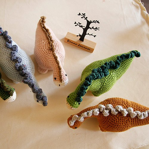 Amigurumi crochet doll: brow dinosaur, long neck dragon