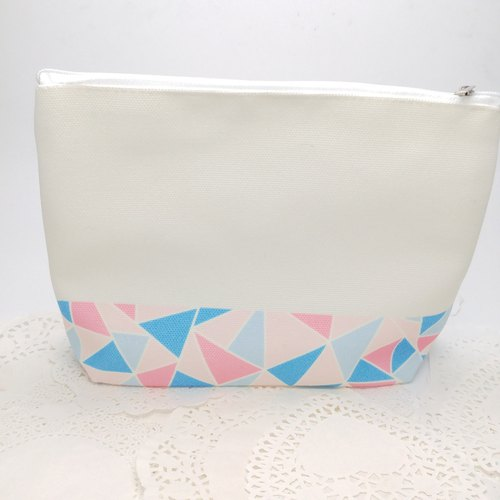 Mosaic Pattern Makeup Bag - Light Pink and Blue color
