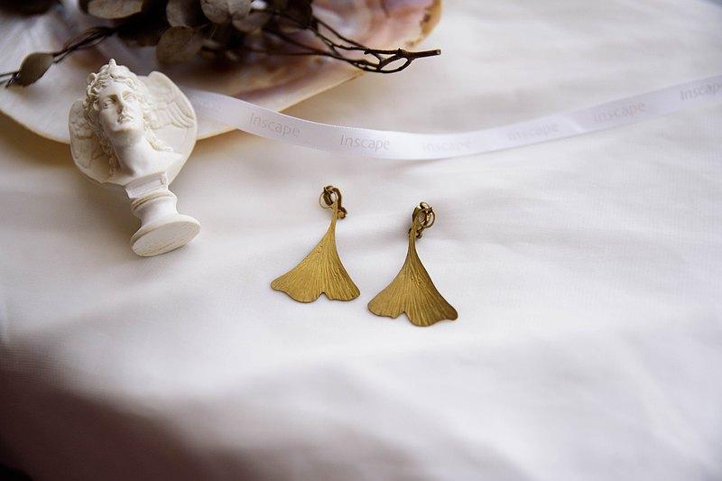 黃銅銀杏耳夾