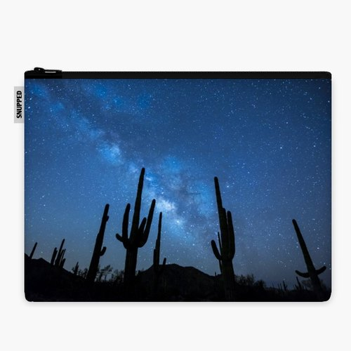 SpaceSuit - Document Pouch - Milky Way Skyscape in the Desert with Succulents