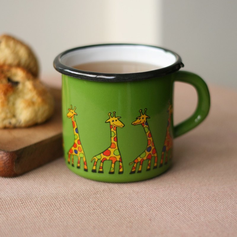 Smaltum Prague enamel cup Gator green giraffe _ milk (400ml) <FDN000376>