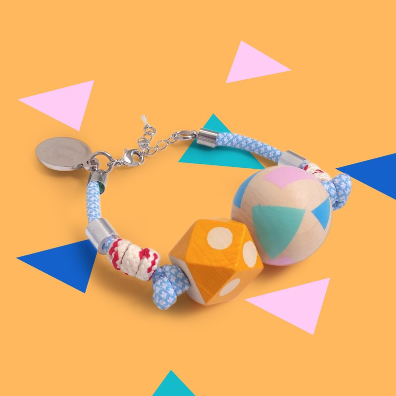 Puppets blue pattern rope orange wave point hexagon geometric pattern round ball wood hand rope