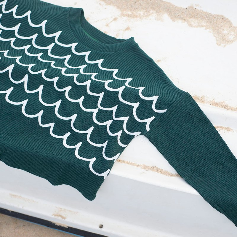 Cotton Shirt - Green (White pearl print)
