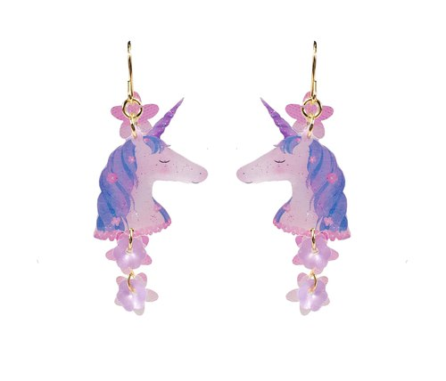 Hand painted flowers and unicorn Star maiden universe 18K gold earrings earrings