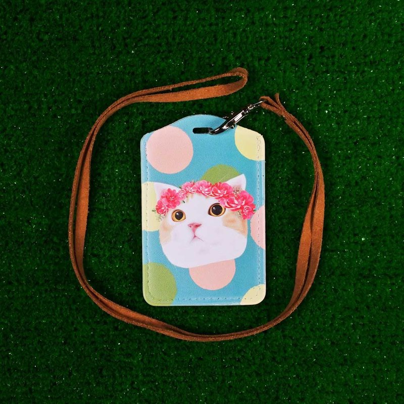 Three cat shop ~ Wreath cat ticket card holder