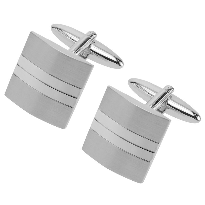 Shiny and Brushed Silver Split Cufflinks