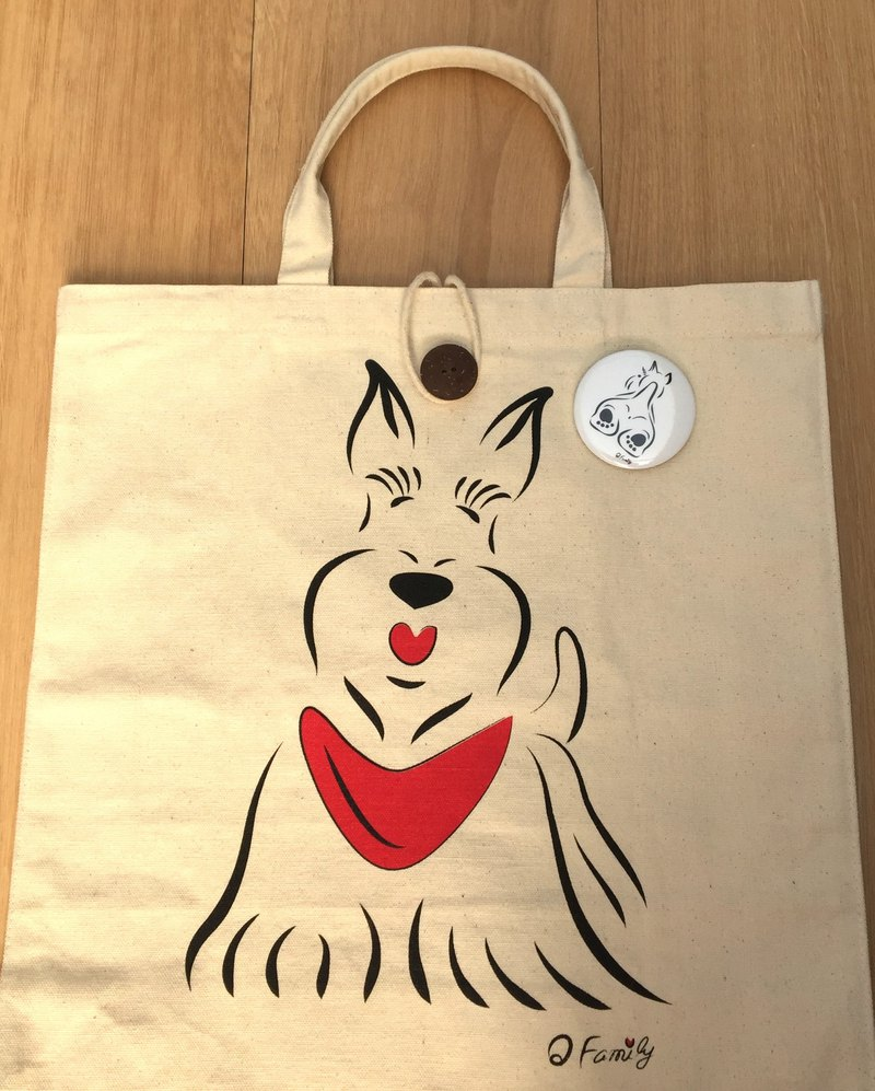 Q Family can store double-sided canvas bag Scottish Terrier