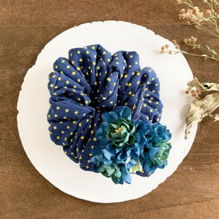 Hair accessory: Cotton floret and dot pattern chouchu