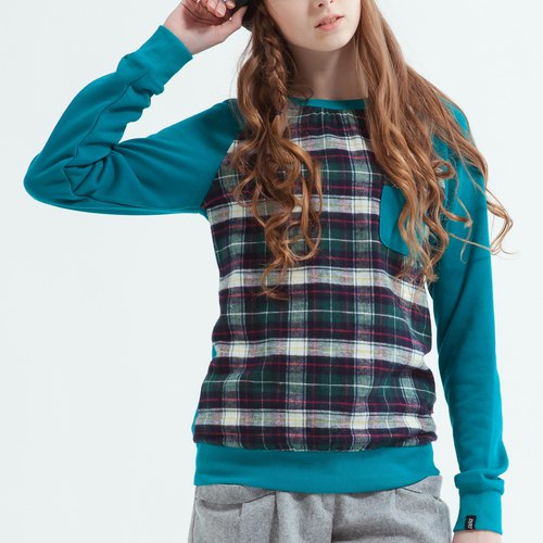 Cute Sweatshirt With Check Front - Green