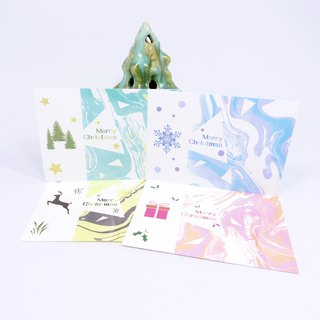 [Christmas Card Combination Package / 4 sheets] Christmas Card Postcard Gift Plain Envelope Christmas Gift Exchange Gift Float Dye