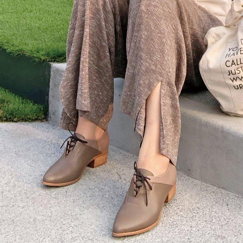 【手工訂製】拼接設計綁帶踝靴_可可棕