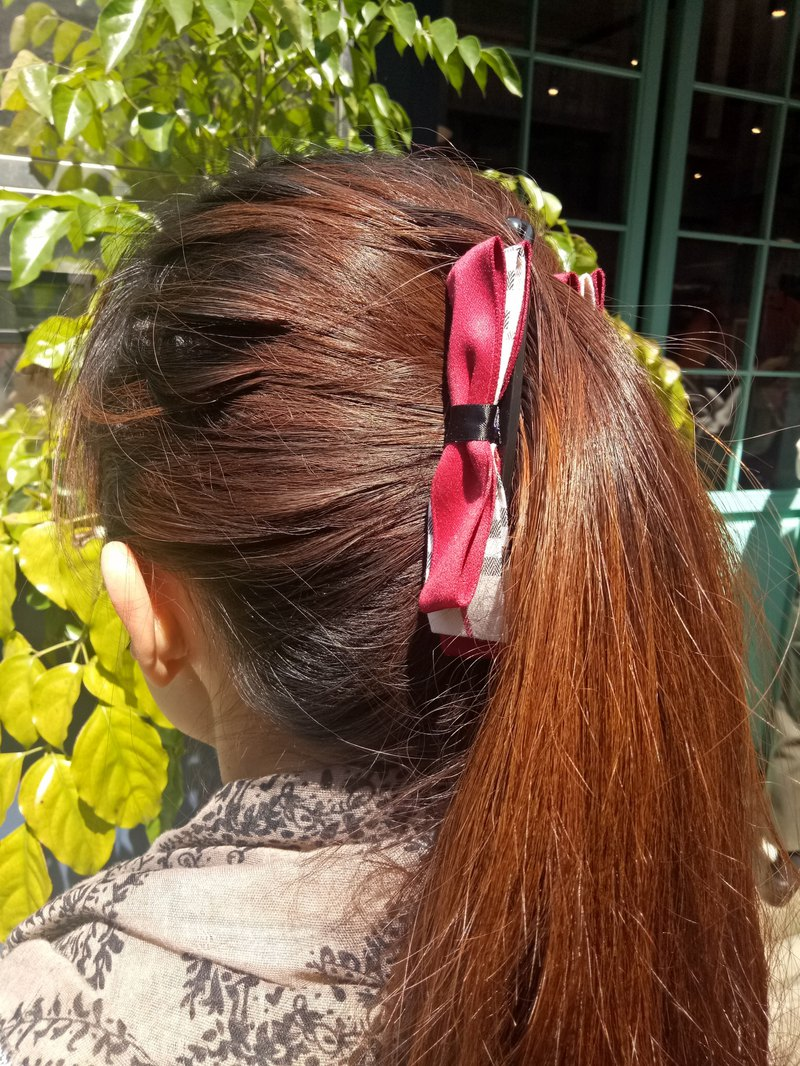 [Double color bow banana clip] clown red checkered hand made hair accessories bow retro