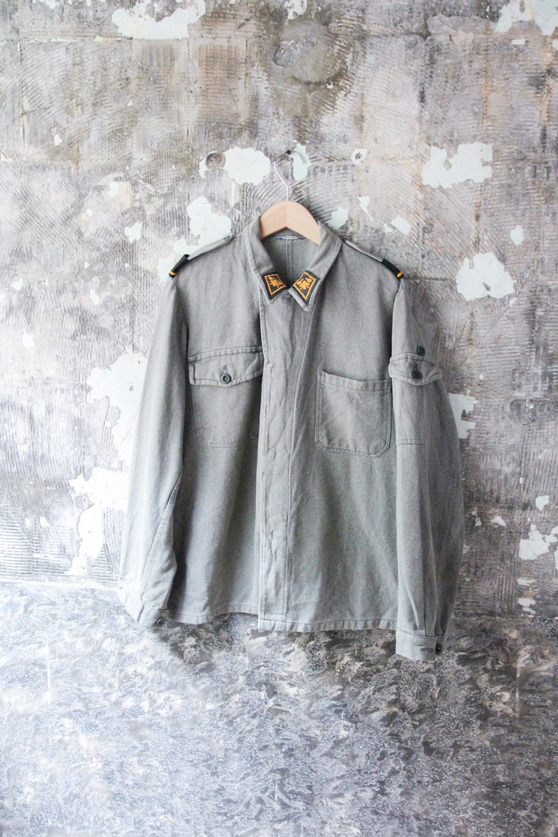 袅袅 Department Store-Vintage Grey Green Work Jacket