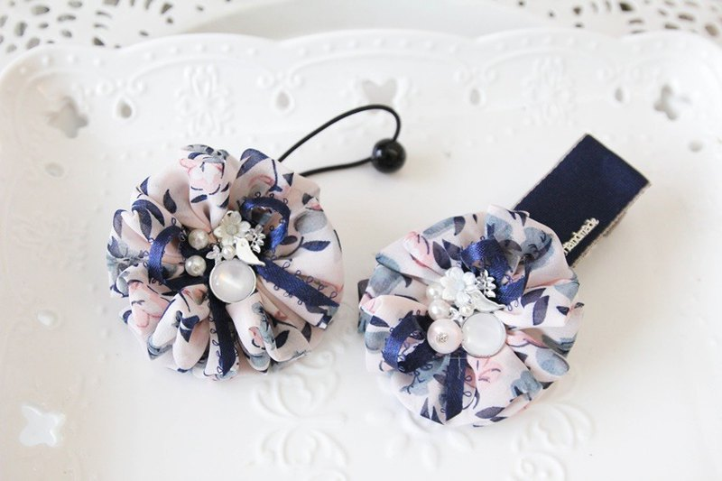 Blue chiffon flower wave hair bundle + generous folder mother clip combination @ Christmas limited edition