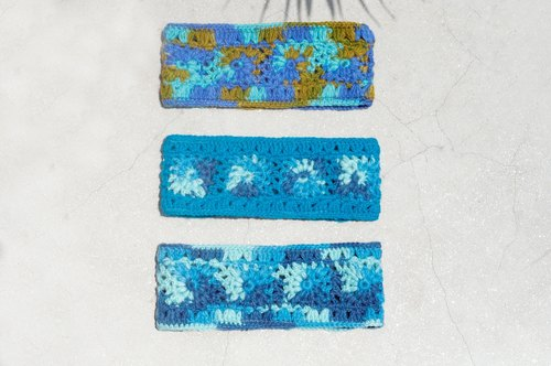 Tanabata gift limited hand / handmade wool weaving fun belt / pure wool knit hair band / boho headband / flower hook woven belt / inner brush hair band / knitted hair band - blue sea forest flowers