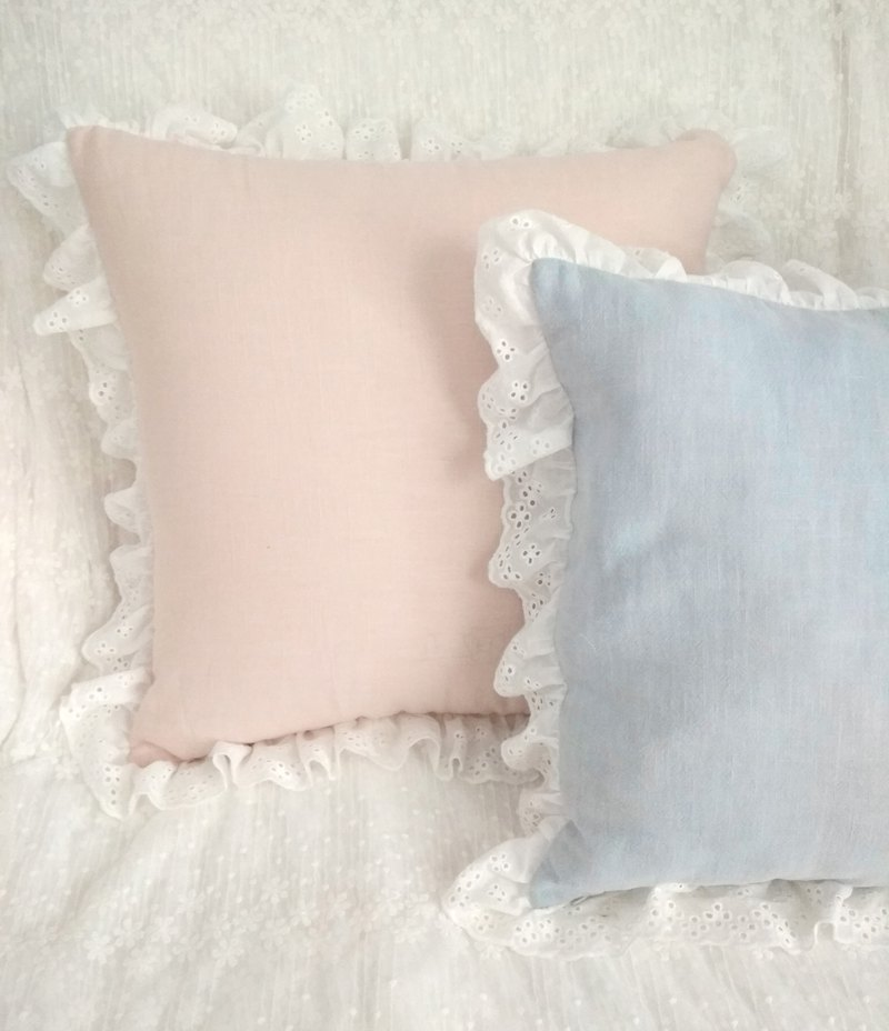 Cotton Linen Apricot Pink Blue French Lace Retro Pillow Cushion Pillowcase