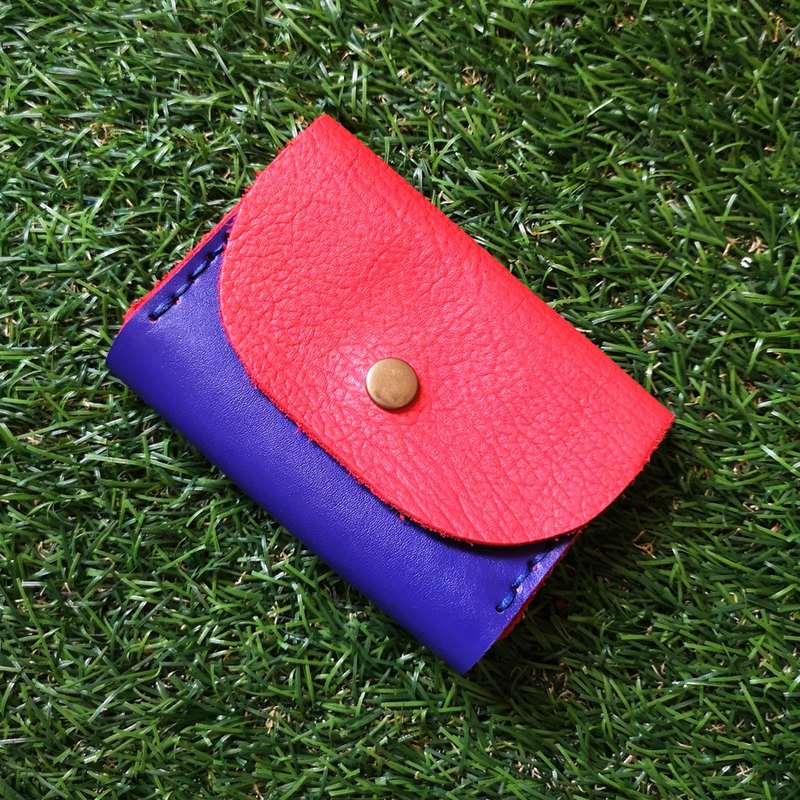Double-layer card leather coin purse - red + blue contrast color leather
