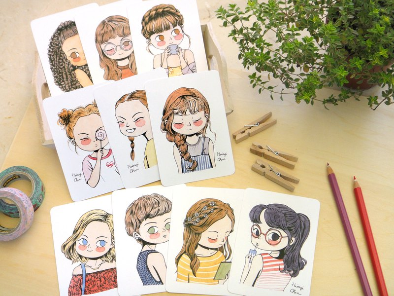 Set of 10 My Hairstyle Girls Illustrated Watercolor Mini Postcards